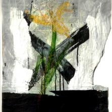 1-24-RVCOLL759113,renier vaessen,1975-1990,yellow iris,gemengde techniek op papier,98x86